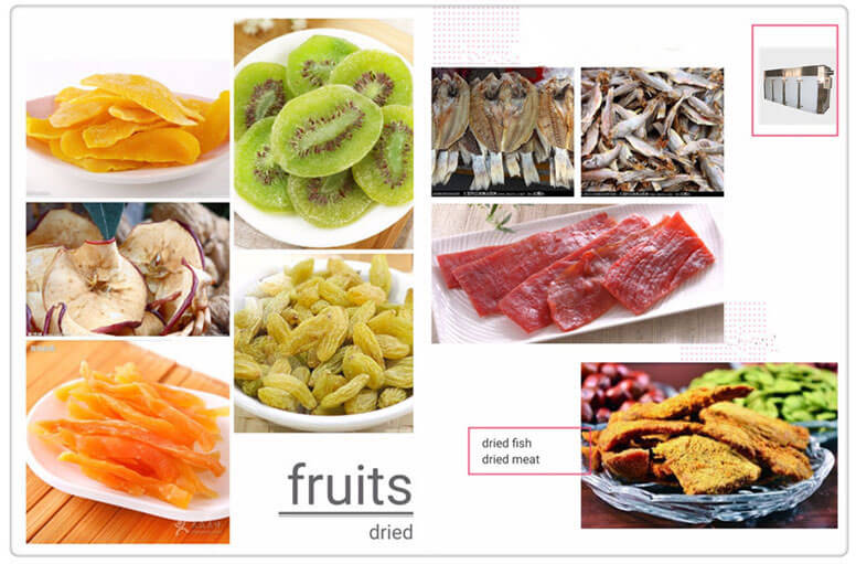 dried fruits & dried meat fishes dehydrated by large food dehydrating machine